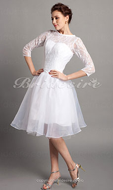 A-line Satin Knee-length Bateau Wedding Dress
