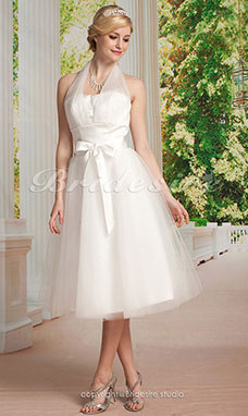 Empire Tulle Knee-length Halter Wedding Dress