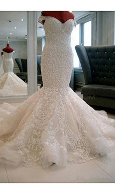 Trumpet/Mermaid Off-the-shoulder Sleeveless Tulle Wedding Dress