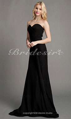 Trumpet/ Mermaid Chiffon Sweep/Brush Train Sweetheart Evening Dress Inspired by Angelina Jolie at the 81st Oscar