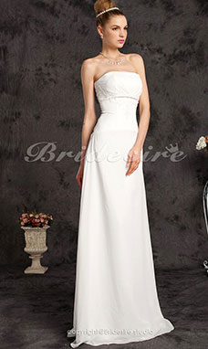 Sheath/ Column Chiffon Floor-length Wedding Dress With Beaded Appliques