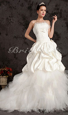 Ball Gown Satin Chapel Train Strapless Tulle Tiered Wedding Dress