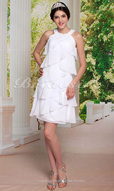 Sheath/ Column Chiffon Knee-length Jewel Cocktail/ Homecoming Dress