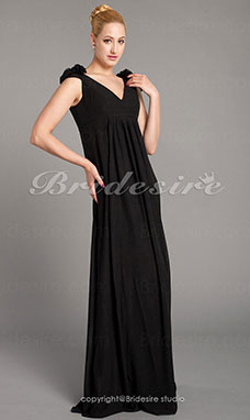 Trumpet/Mermaid Chiffon V-neck Sweep/Brush Train Short Sleeve Evening Dress