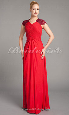 Sheath/ Column Chiffon Matte Satin Floor-length Mother of the Bride Dress