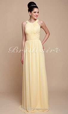 Sheath/Column Floor-length Empire Chiffon Scoop Bridesmaid Dress