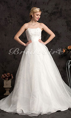 A-line Organza Chapel Train Strapless Wedding Gown