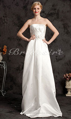 A-line Satin Floor-length Strapless Wedding Dress