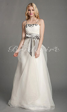A-line Organza Floor-length Straps Wedding Dress With Beaded Appliques