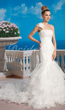 Mermaid/ Trumpet Organza Court Train One Shouler Tiered Wedding Dress