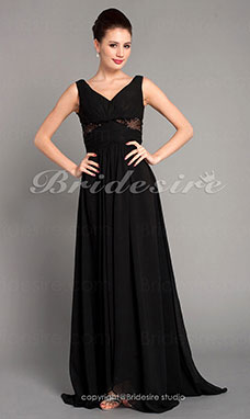 A-line Chiffon Floor-length V-neck Evening Dress inspired by Sex and the City