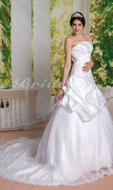 Ball Gown Chapel Train Strapless Pick-up Satin Wedding Dress