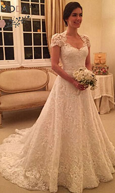 A-line High Neck Short Sleeve Lace Wedding Dress