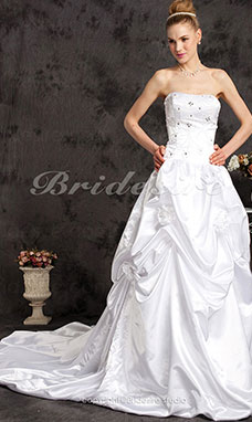 Ball Gown Satin Chapel Train Spaghetti Straps Wedding Dress with A Wrap