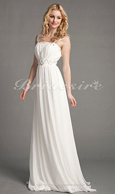 Sheath / Column Chiffon Empire Floor-length Wedding Dress