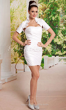 Sheath / Column Taffeta Short / Mini T-shirt Sweetheart Wedding Dress With Wrap