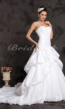 Ball Gown Off-the-shoulder Taffeta Chapel Train Tiered Wedding Dress