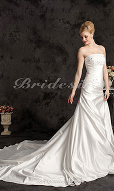 Mermaid/ Trumpet Satin Court Train Side-draped Strapless Wedding Dress