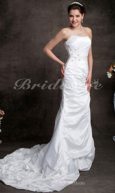 Trumpet/Mermaid Taffeta Court Train Strapless Wedding Dress