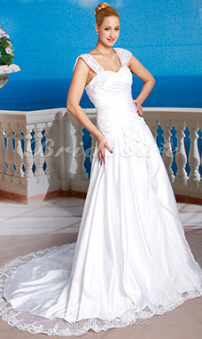 A-line Satin Lace Chapel Train Off-the-shoulder Wedding Dress