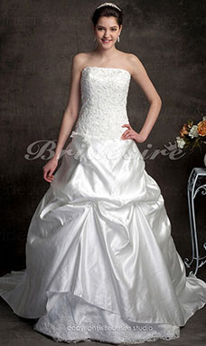 Ball Gown Chapel Train Sweetheart Satin Lace Wedding Dress With Wrap