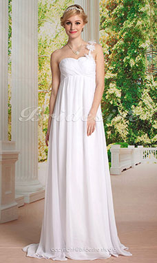 Empire Chiffon Floor-length Flower One Shoulder Wedding Dress