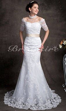 Trumpet / Mermaid Lace Chapel Train Off-the-shoulder Wedding Dress