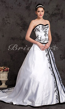 A-line Court Train Satin Sweetheart Wedding Dress with Split Front