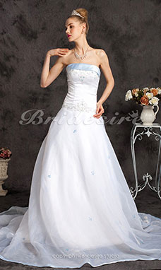 A-line Organza Satin Chapel Train Strapless Wedding Dress