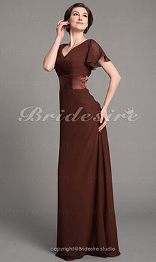 Sheath/ Column Chiffon V-neck Floor-length Short Sleeve Mother of the Bride Dress