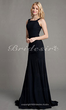 Trumpet/ Mermaid Chiffon Sweep/ Brush Train Scoop Mother of the Bride Dress