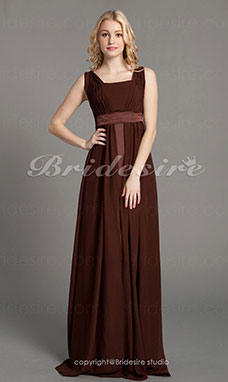 A-line Chiffon V-neck Floor-length Sleeveless Bridesmaid Dress