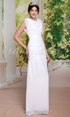 Sheath / Column Side-Draped Floor-length Chiffon Bateau Wedding Dress