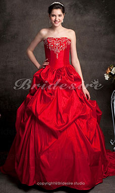 Ball Gown Chapel Train Strapless Taffeta Sleeveless Red Wedding Dress