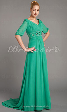Sheath/Column Chiffon Sweep/Brush Train V-neck Mother of the Bride Dress