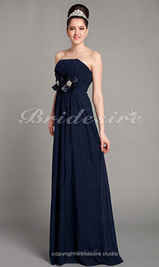 Empire Chiffon Over Satin Strapless Floor-length Bridesmaid Dress
