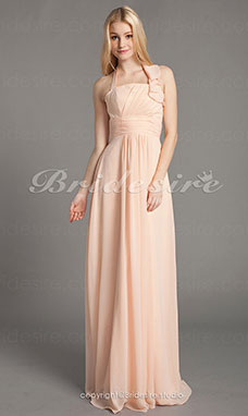 Empire Chiffon Floor-length Halter Bridesmaid Dress