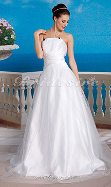 A-Line Tulle Satin Wedding Dress with Bow and Draped