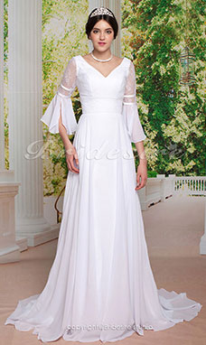 Sheath/Column Lace Chiffon Brush/Sweep Train Wedding Dress