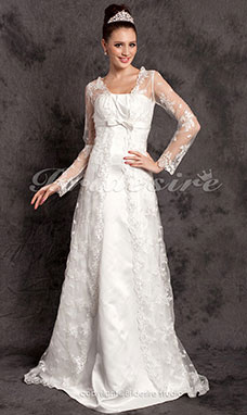 Sheath/ Column Lace Satin Court Train Wedding Dress
