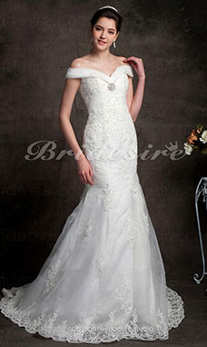 Trumpet/ Mermaid Organza Over Satin Off-the-shoulder Removable Chapel Train Wedding Dress