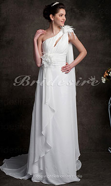Sheath/ Column Chiffon Court Train One Shoulder Wedding Dress with 3D Flowers