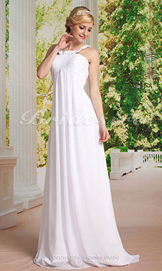 Sheath/ Column Chiffon Sweep/ Brush Train Straps Wedding Dress