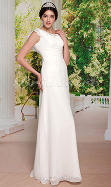 Sheath/ Column Floor-length Elastic Satin Chiffon V-neck Wedding Dress