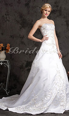 A-line Satin Court Train Sweetheart Wedding Dress
