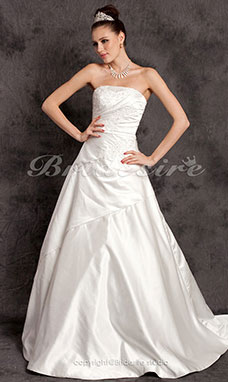 A-line Satin Chapel Train Wedding Dress