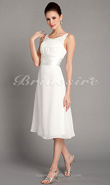 Sheath/ Column Chiffon Tea-length Scoop Wedding Dress