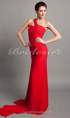 Trumpet/ Mermaid Chiffon Sweep Train One Shoulder Evening Dress inspired by Ksenia Solo