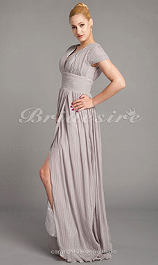 Sheath/ Column Chiffon Sweep/Brush Train V-neck Evening Dress inspired by Mila Kunis