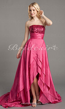 A-line High Low Taffeta And Sequin Strapless Evening/ Cocktail Dress